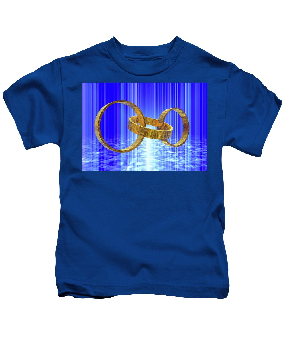 Gold Kids T-Shirt featuring the digital art Magic Rings by Nicholas Burningham