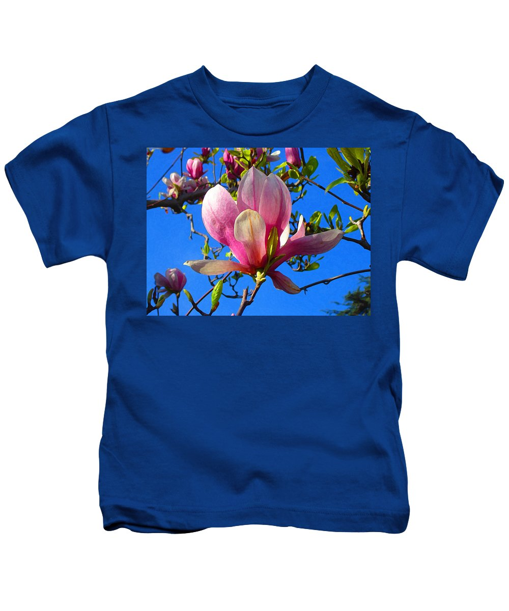 Magnolia Kids T-Shirt featuring the painting Magnolia Flower by Amy Vangsgard
