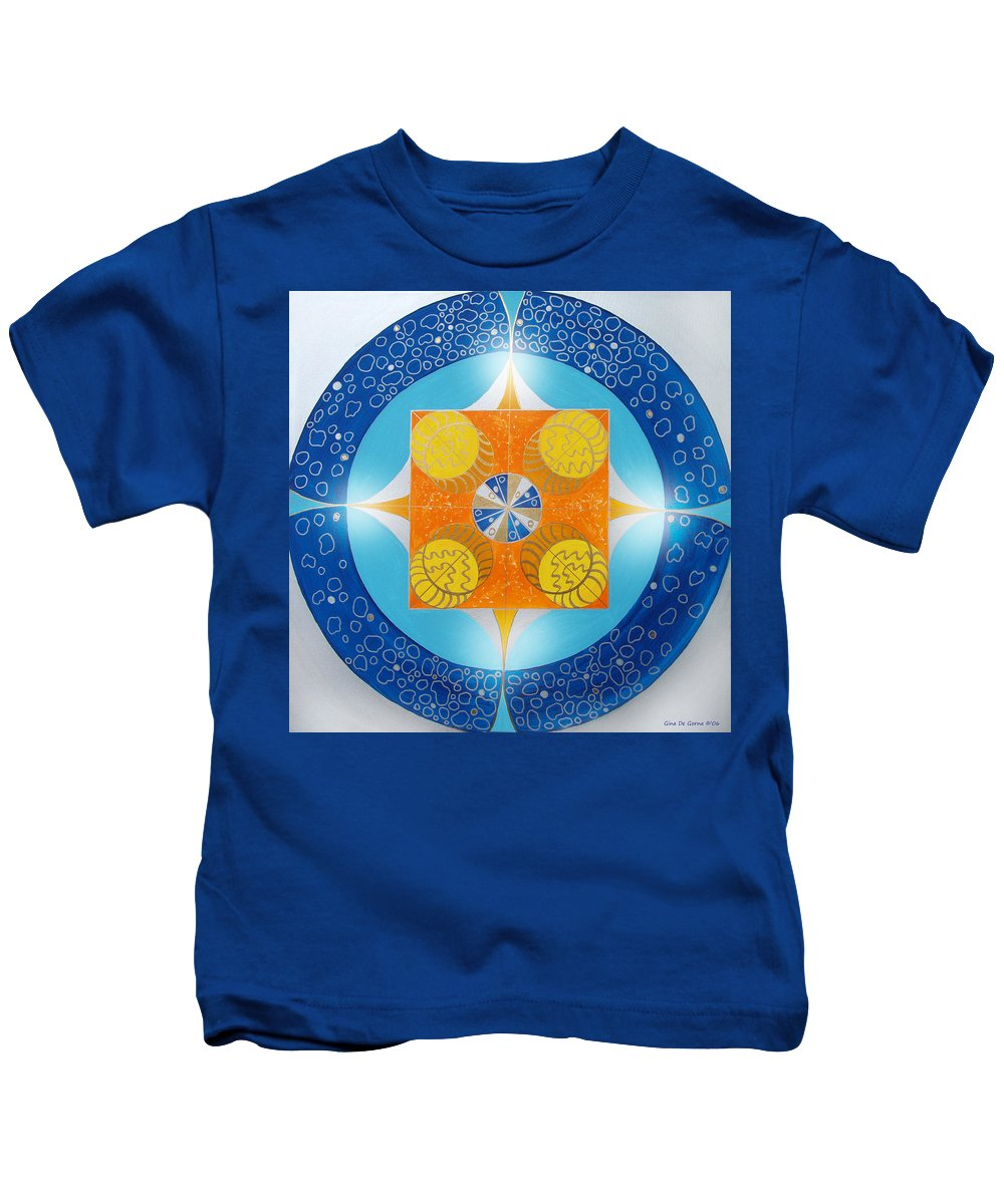 Mandala Kids T-Shirt featuring the painting Mandala 15 by Gina De Gorna