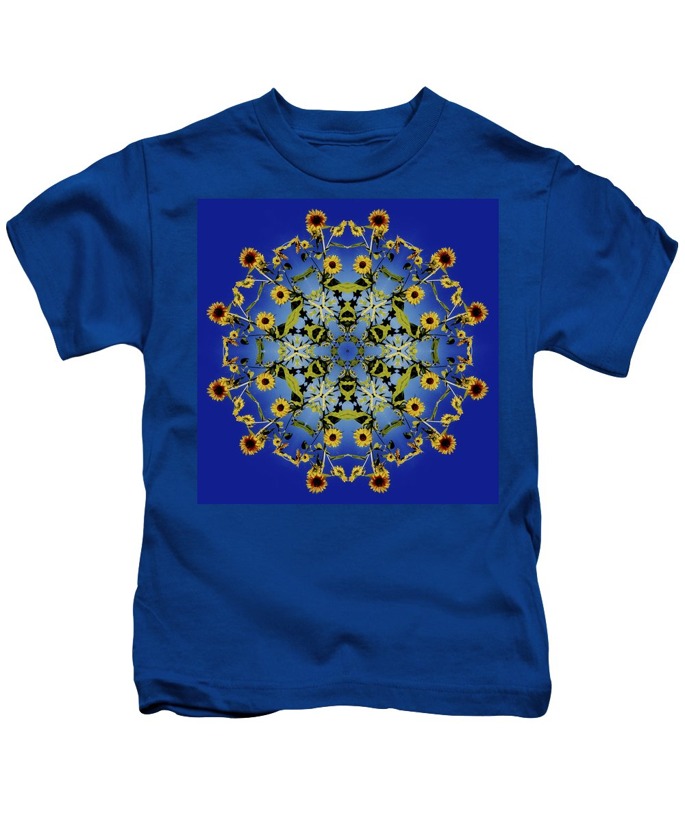 Mandala Kids T-Shirt featuring the digital art Mandala Sunflower by Nancy Griswold