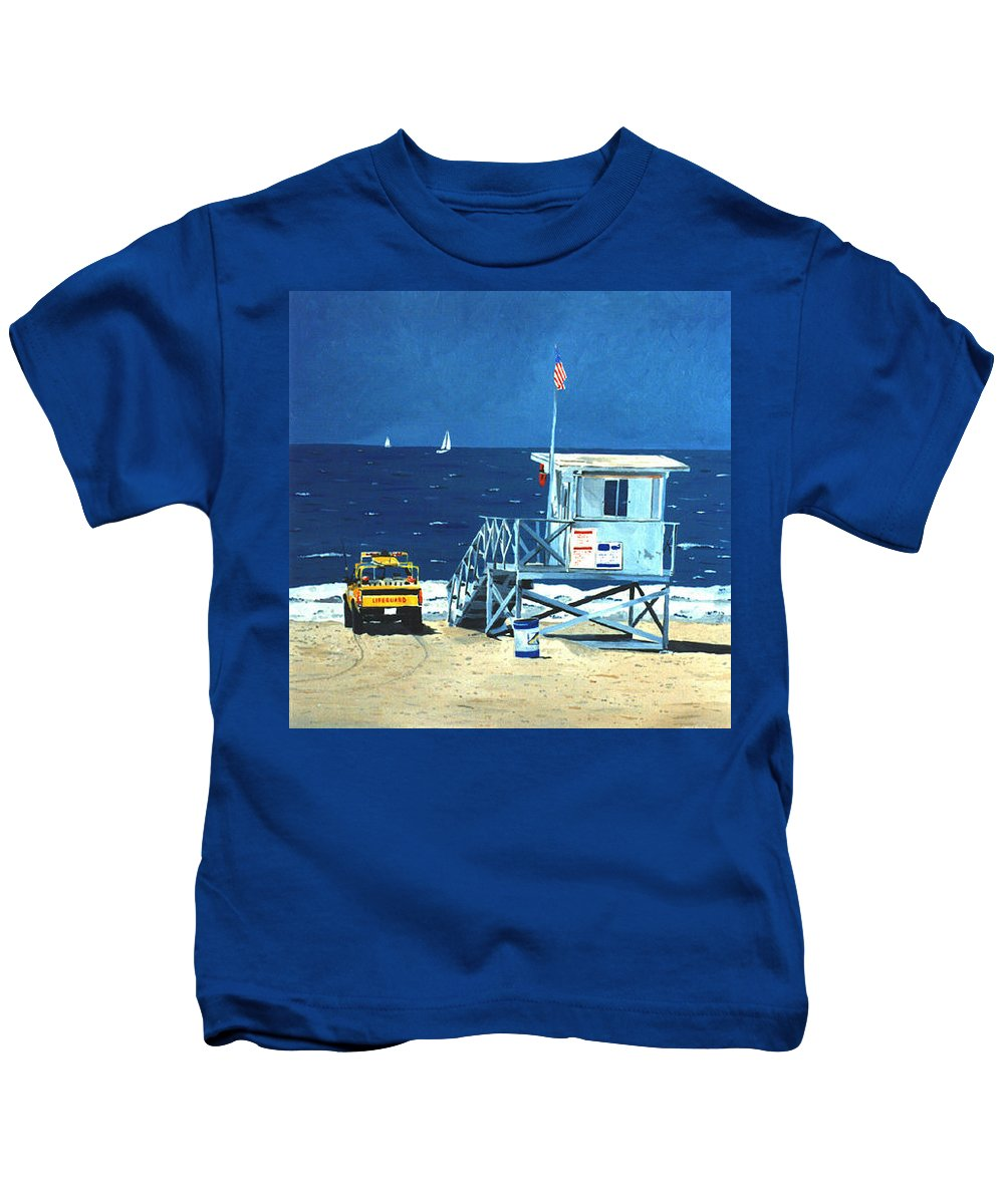 Modern Kids T-Shirt featuring the painting Manhattan Beach Lifeguard Station by Lance Headlee