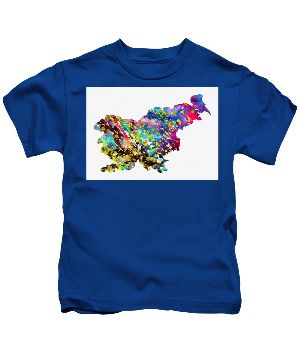 Slovenia Kids T-Shirt featuring the digital art Map Of Slovenia-colorful by Erzebet S
