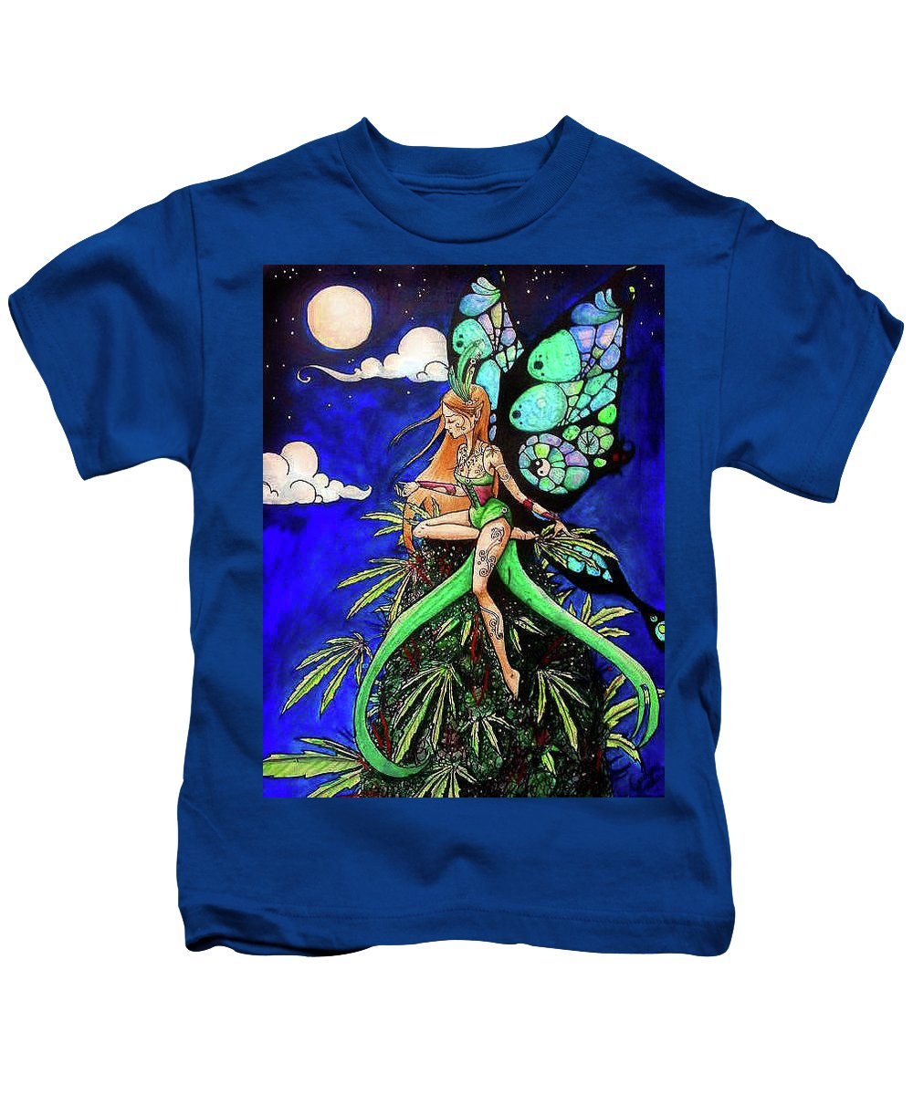 Marijuana Kids T-Shirt featuring the painting Marijuana Fairy by Carolyn Anderson