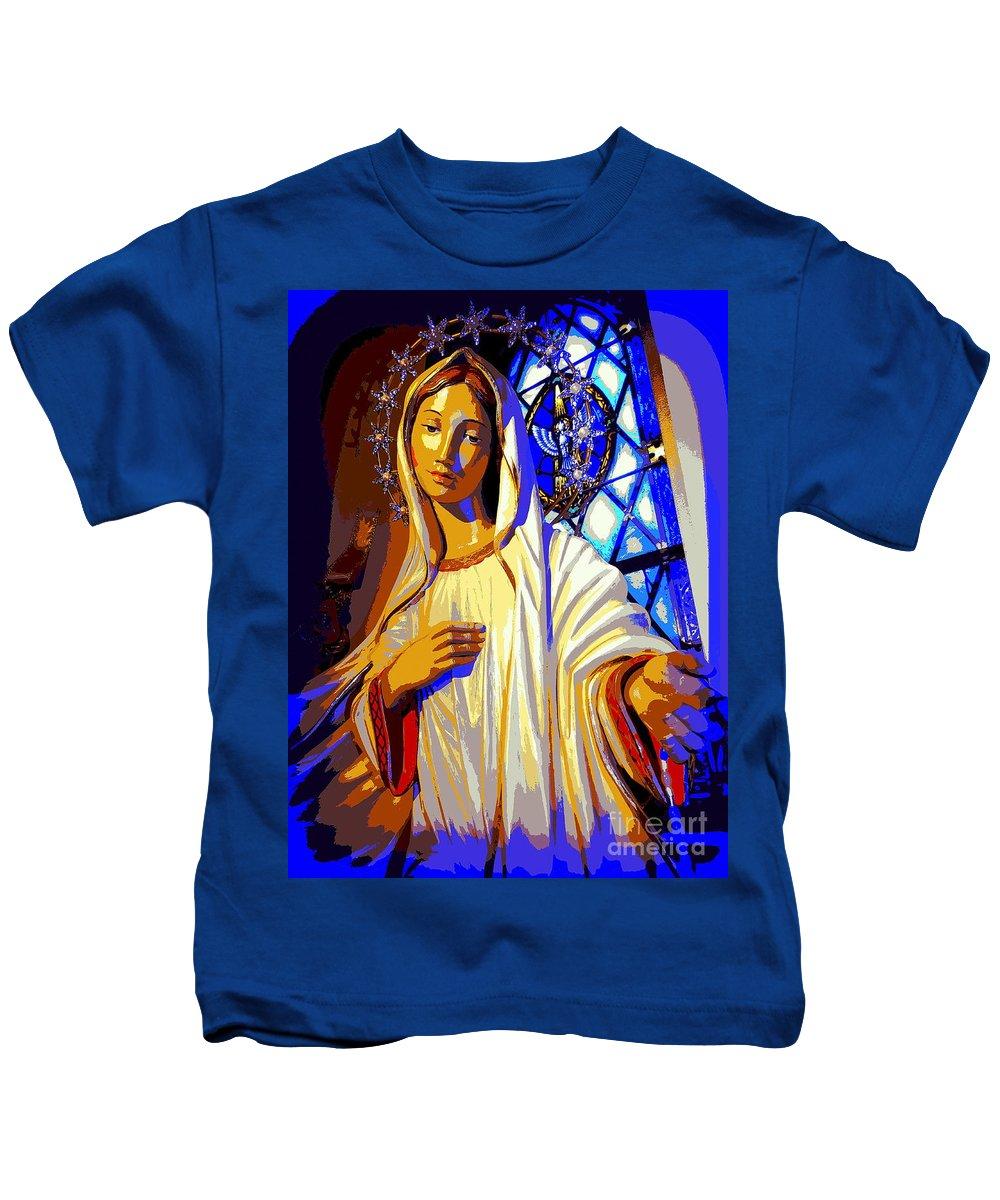 Digital Art Kids T-Shirt featuring the digital art Marys Circle Of Stars by Ed Weidman