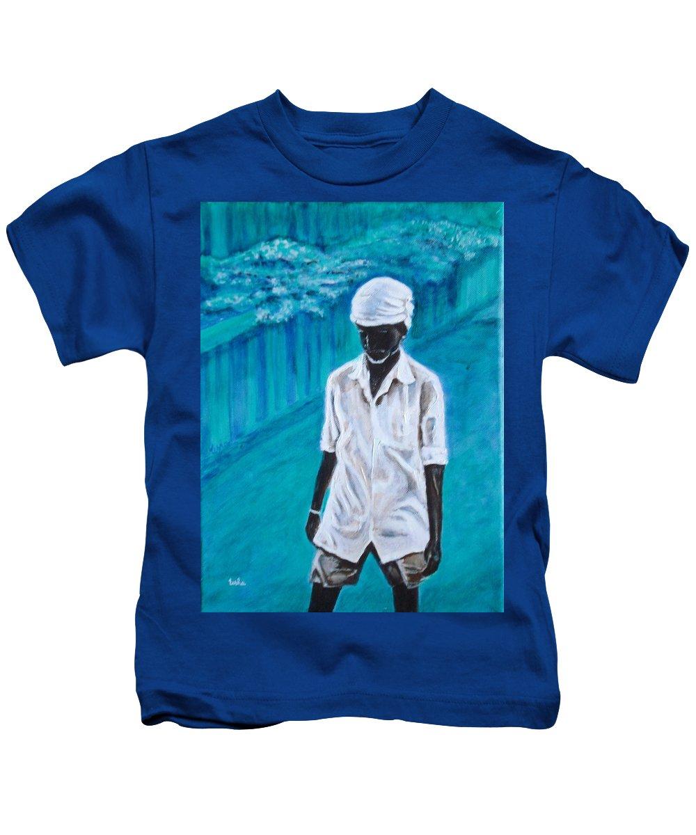 Usha Kids T-Shirt featuring the painting Mason by Usha Shantharam