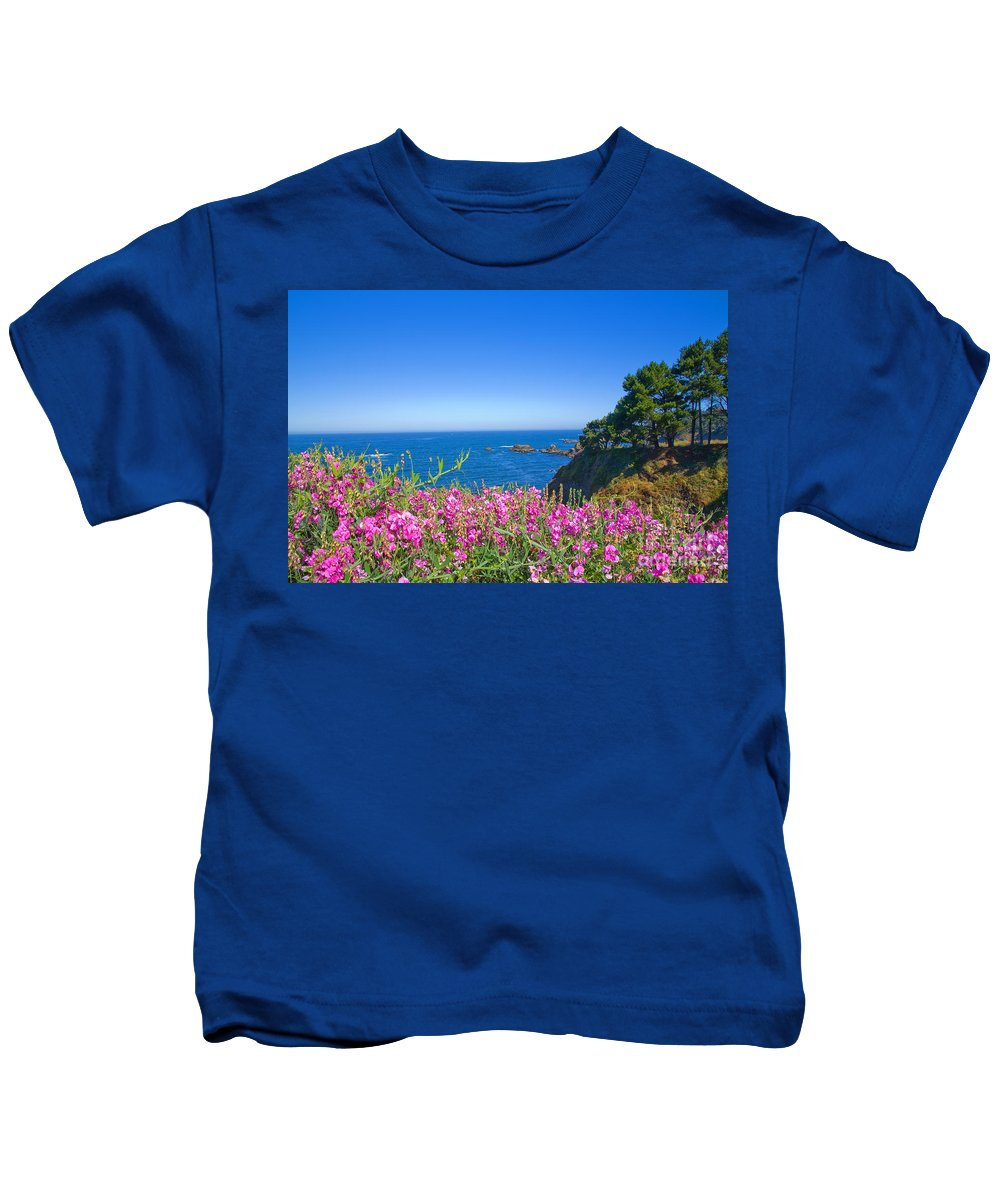 Wildflowers Kids T-Shirt featuring the photograph Mendecino Wildflowers by Daniel Knighton