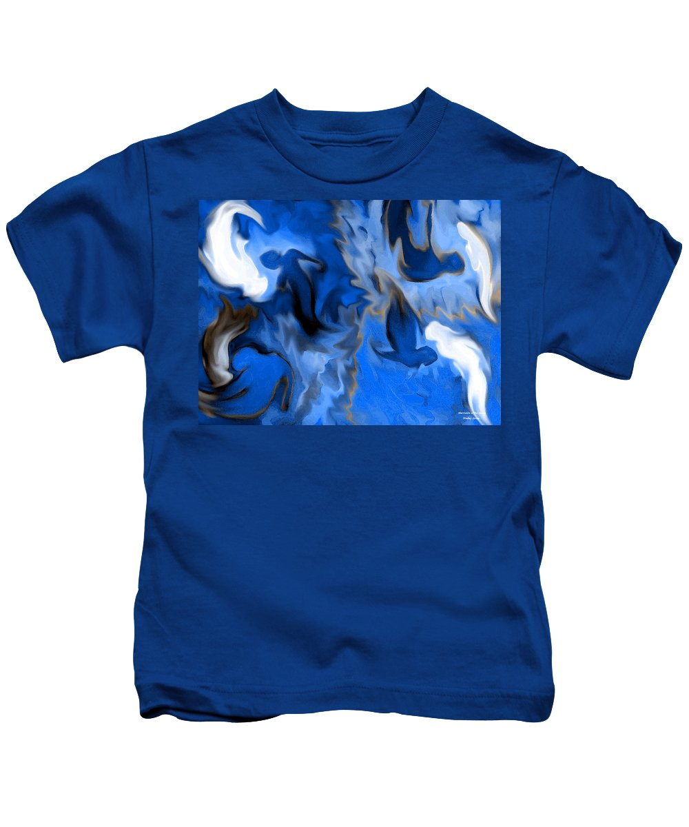 Mermaids Kids T-Shirt featuring the digital art Mermaids by Shelley Jones
