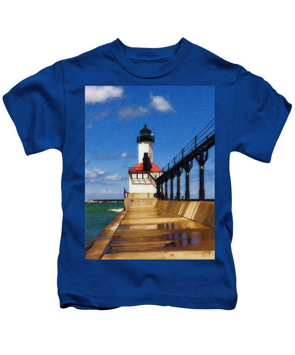 Lighthouse Kids T-Shirt featuring the photograph Michigan City Light 1 by Sandy MacGowan