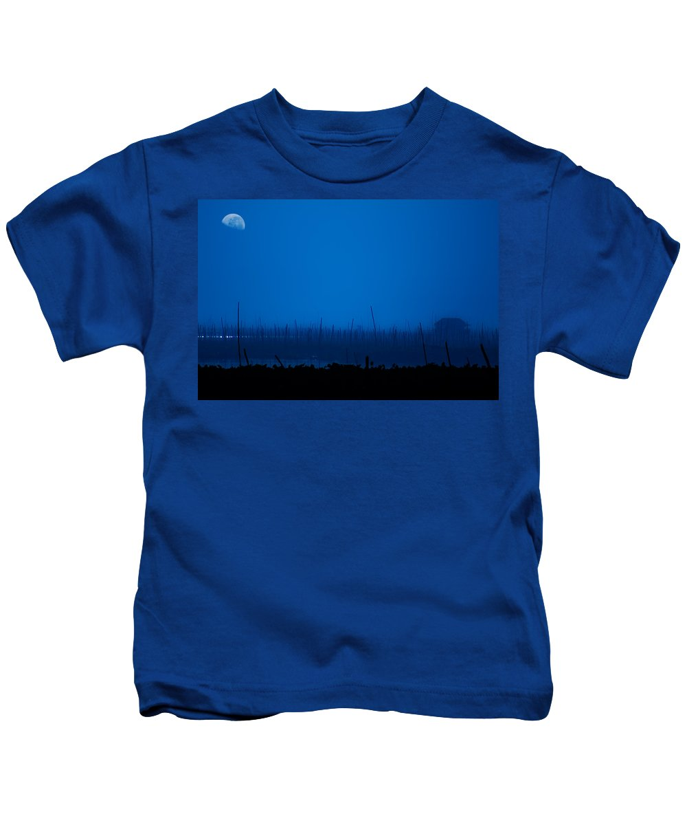 Lake Kids T-Shirt featuring the photograph Midnight Blue by George Cabig