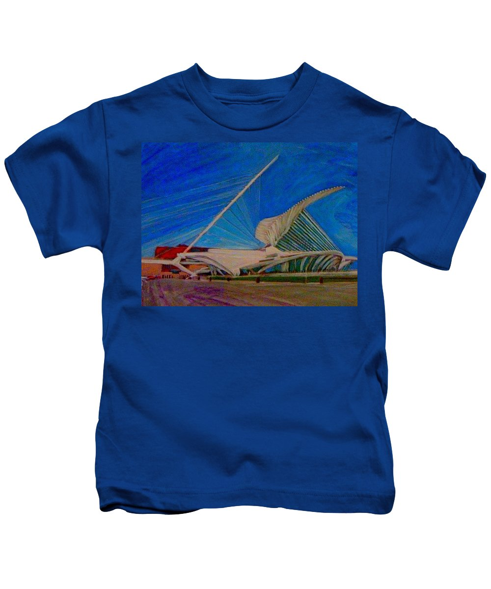Mam Kids T-Shirt featuring the mixed media Milwaukee Art Museum by Anita Burgermeister