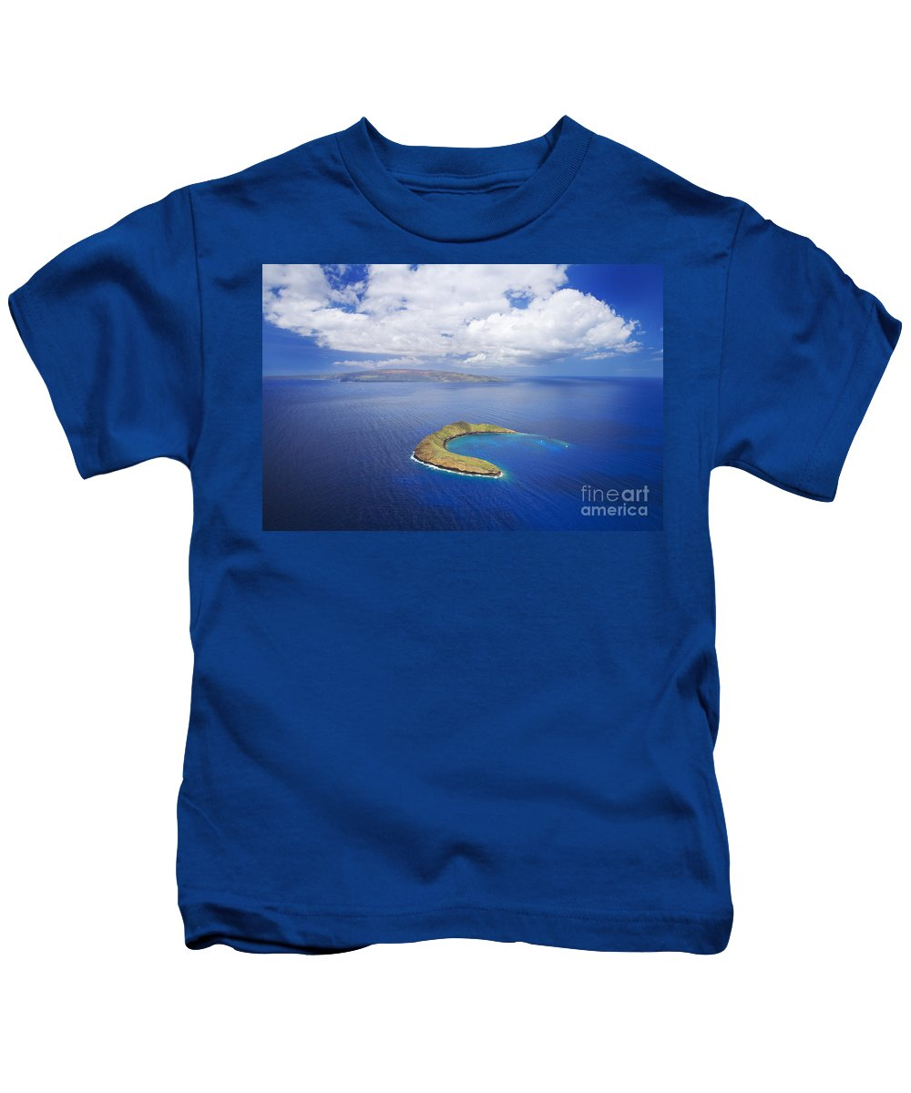 Above Kids T-Shirt featuring the photograph Molokini Aerial by Ron Dahlquist - Printscapes