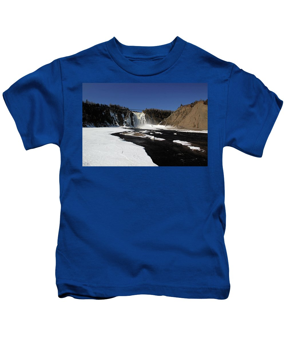 Blue Kids T-Shirt featuring the photograph Montmorency Fall, Winter by Michel Poulin