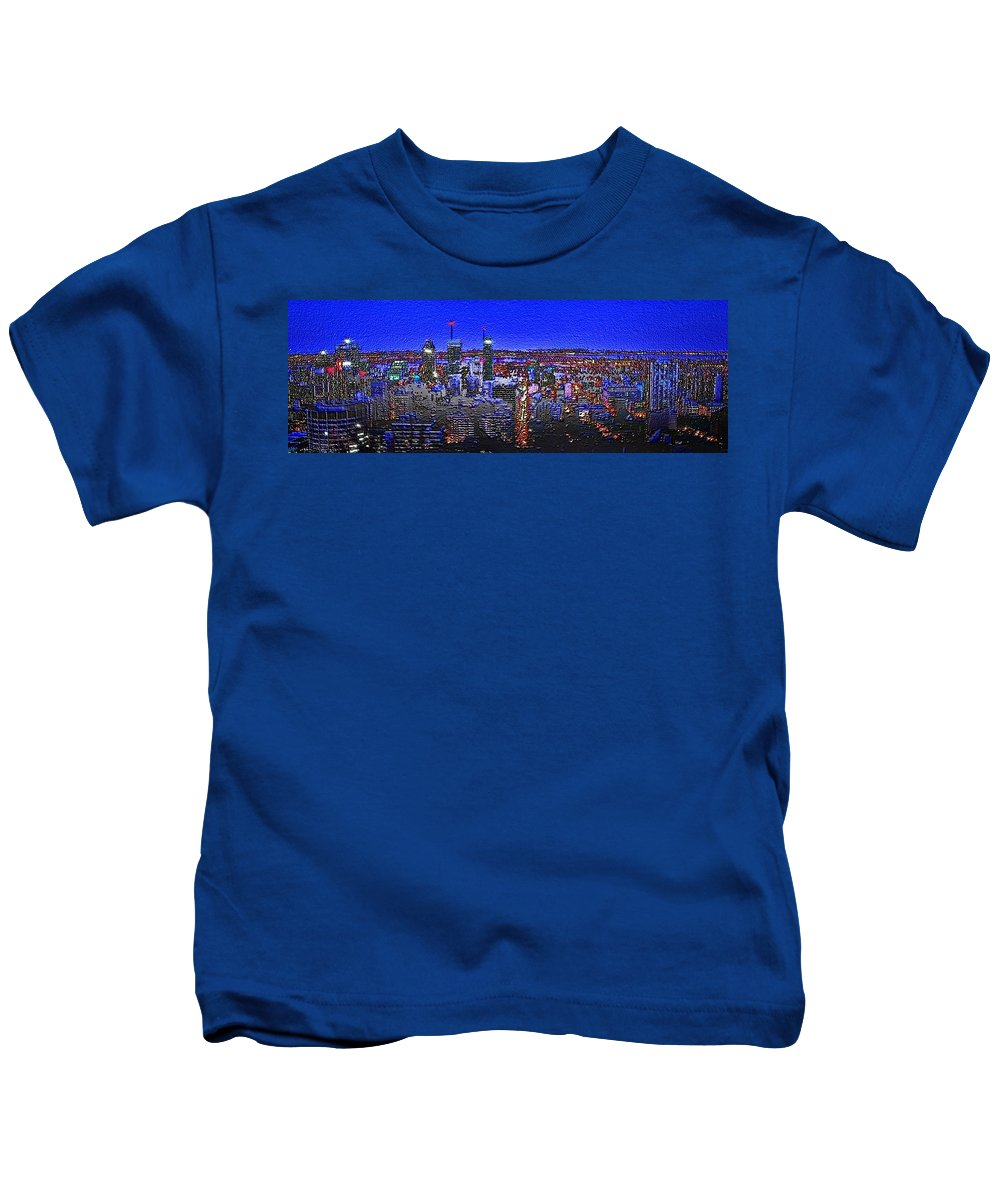 montreal Etched Kids T-Shirt featuring the digital art Montreal Etched by Mark Taylor