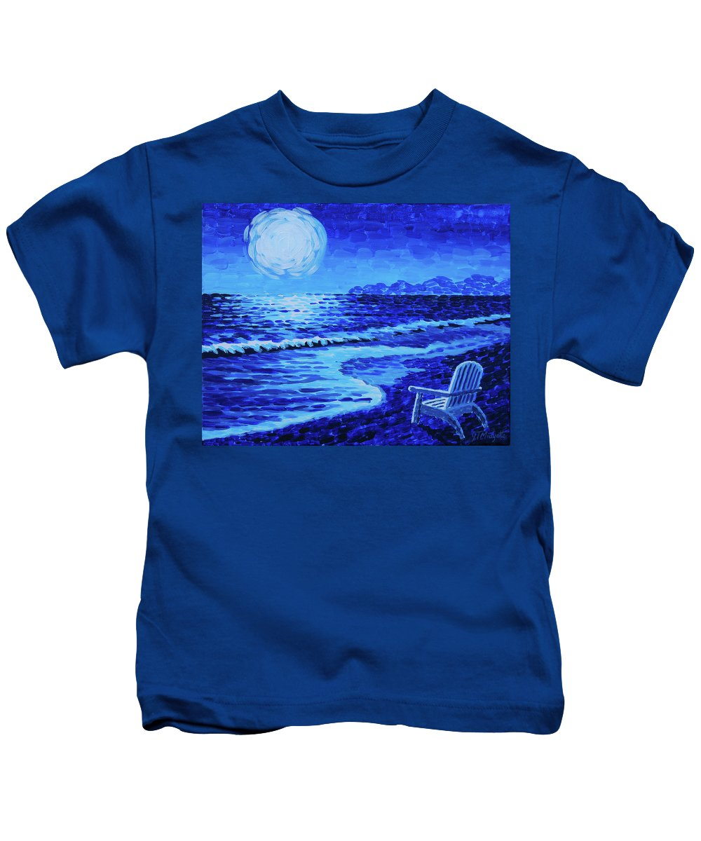 Moon Kids T-Shirt featuring the painting Moon Beach by Tommy Midyette