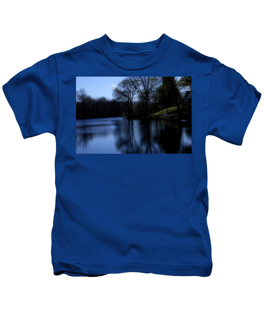 Moon Kids T-Shirt featuring the digital art Moon Over The Charles by Edward Cardini