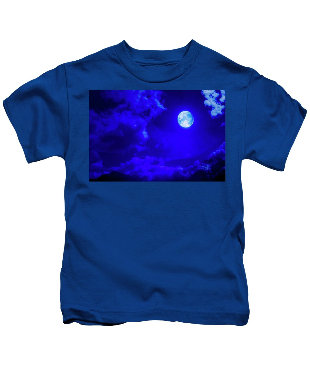 Sky Kids T-Shirt featuring the photograph Moon Over The Mountains by Johanna Hurmerinta