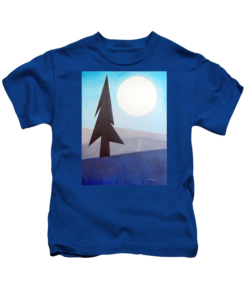 Phases Of The Moon Kids T-Shirt featuring the painting Moon Rings by J R Seymour