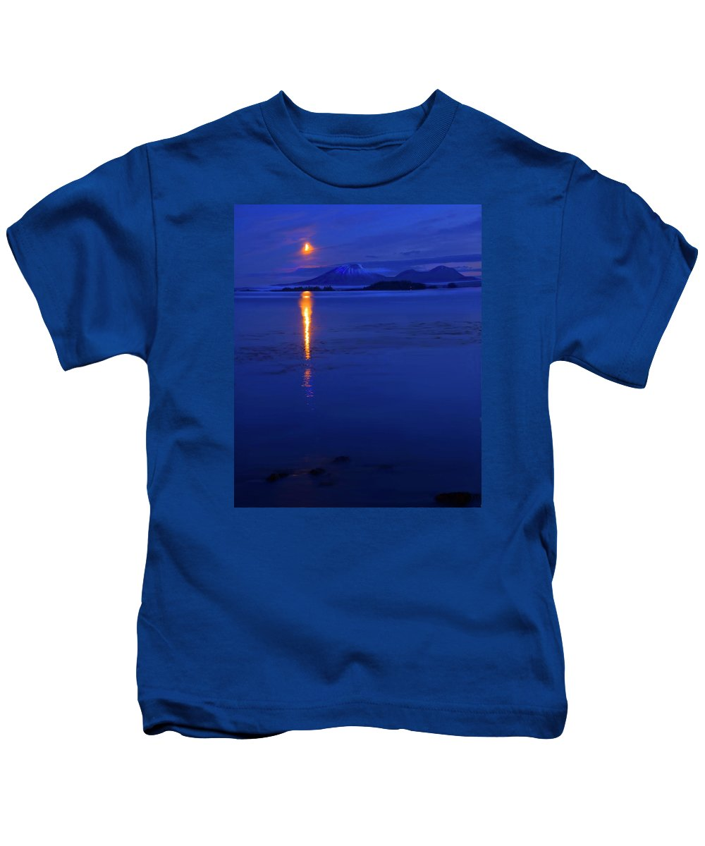 Mt. Edgecumbe Kids T-Shirt featuring the photograph Moon Rise Over Mt. Edgecumbe by Mike Dawson