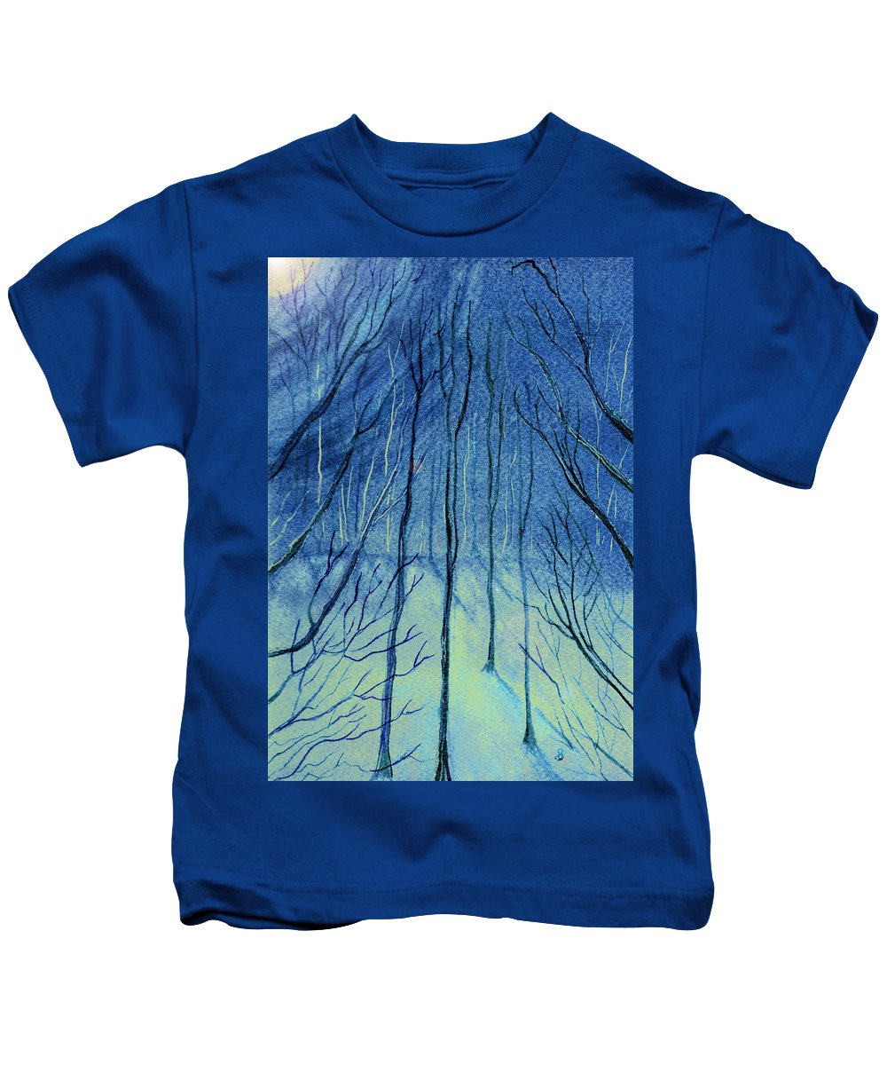 Watercolor Kids T-Shirt featuring the painting Moonlit In Blue by Brenda Owen