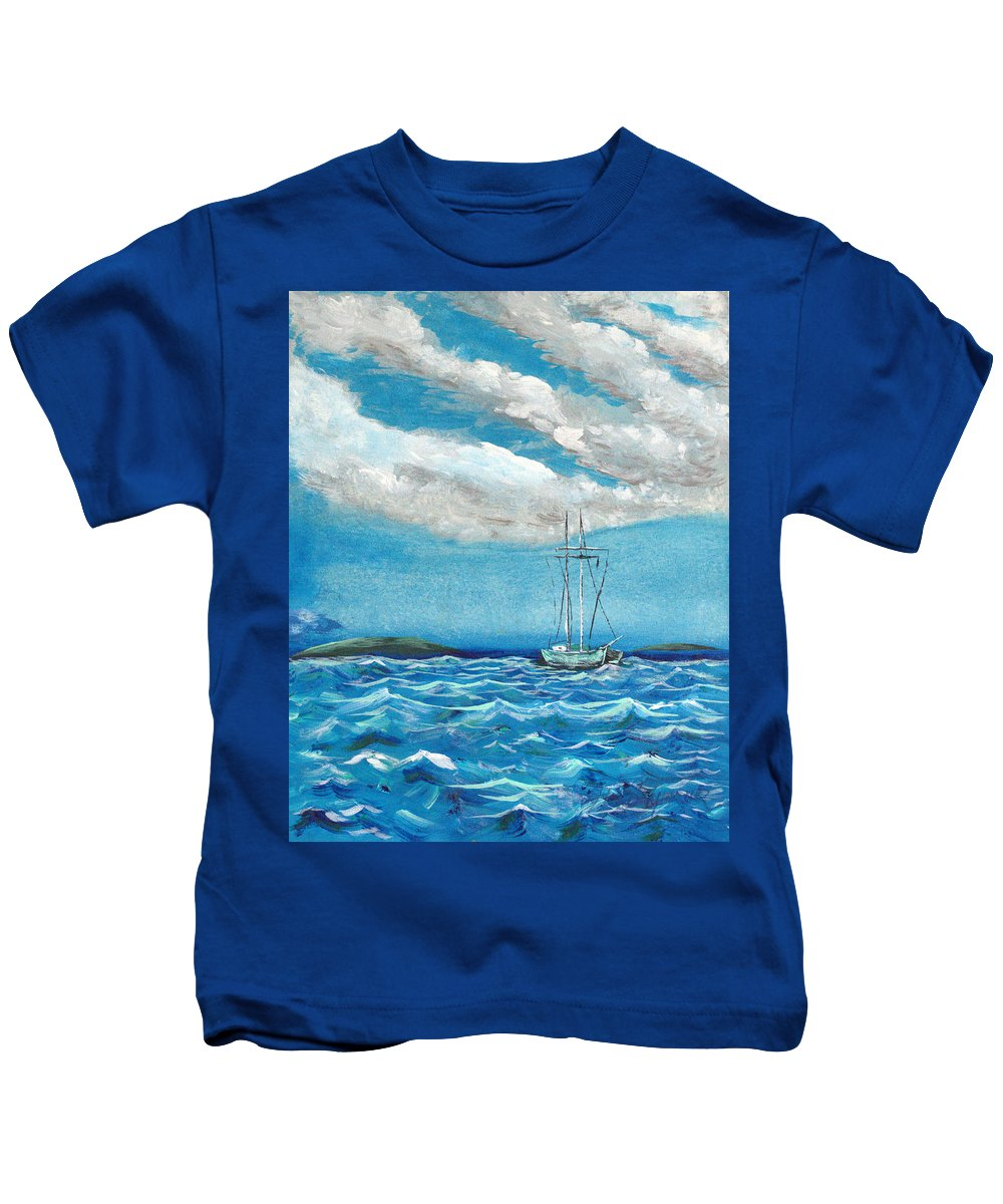Impressionism Kids T-Shirt featuring the painting Moored In The Bay by J R Seymour
