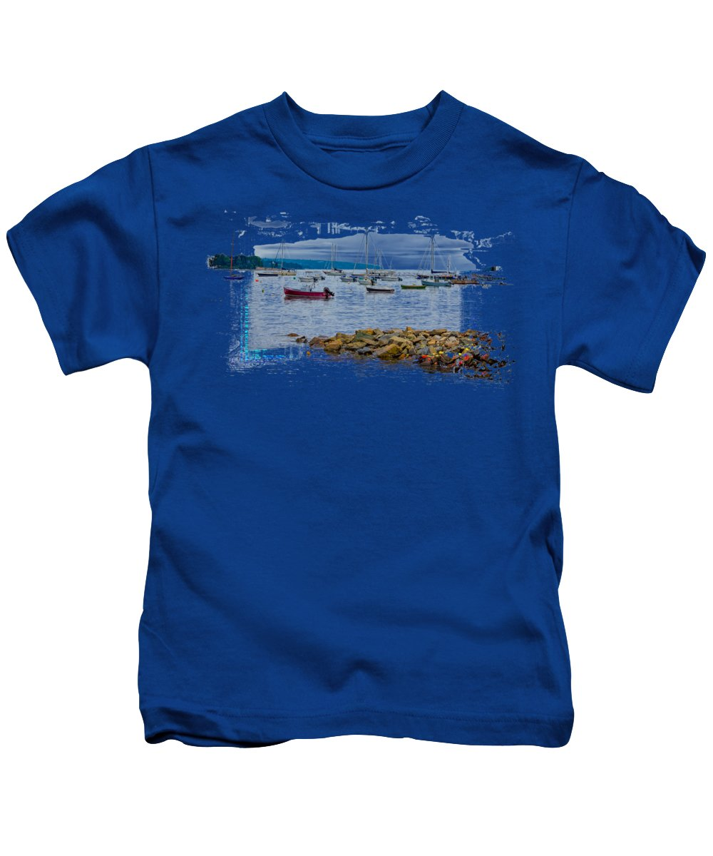Acadia Kids T-Shirt featuring the photograph Moorings 2 by John M Bailey