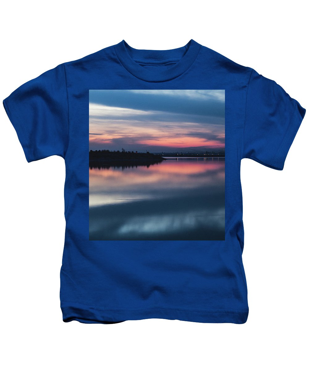 Sunset Kids T-Shirt featuring the photograph Morii Lake At Sunset by Eduard Stoica