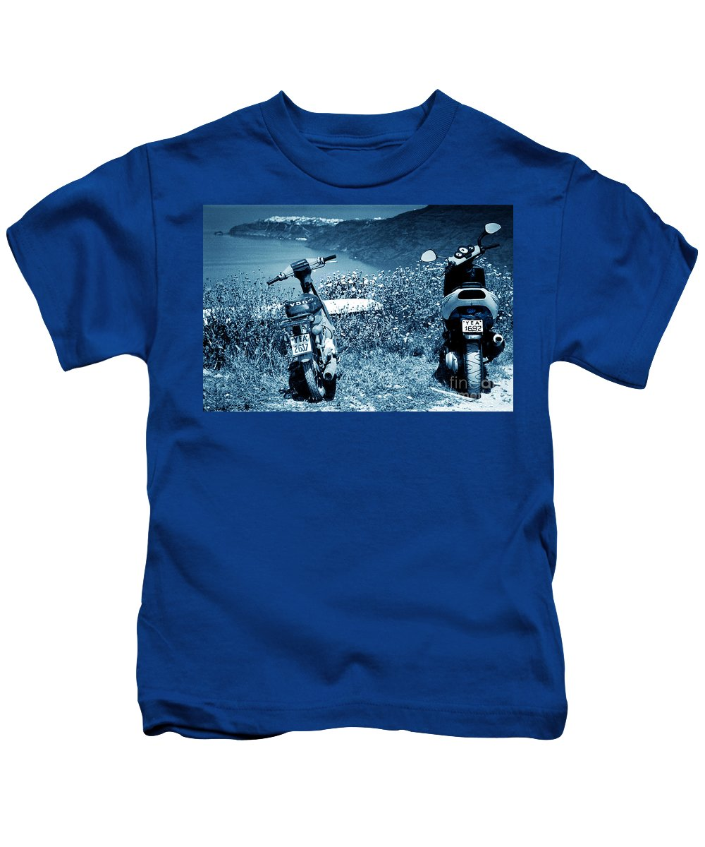 Motor Scooters Kids T-Shirt featuring the photograph Motor Scooters In Greece by Madeline Ellis