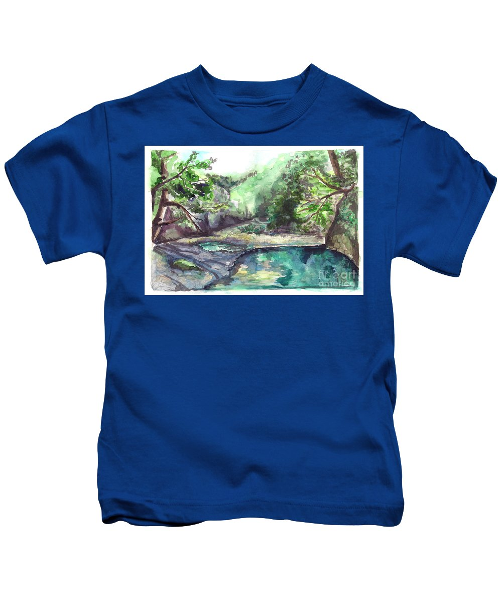 Mountain Kids T-Shirt featuring the painting Mountain River by Yana Sadykova