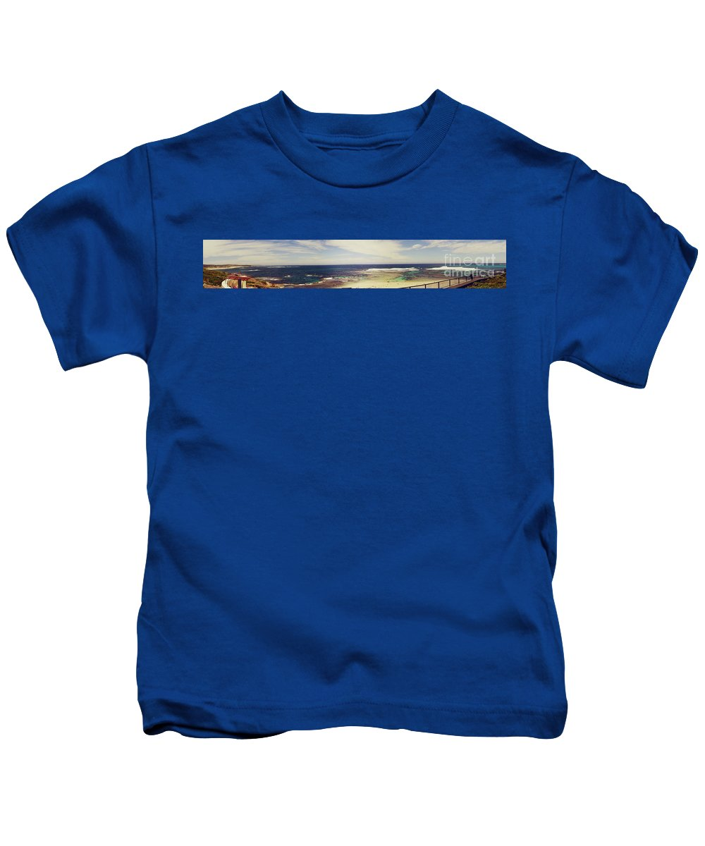 Panorama Kids T-Shirt featuring the photograph Mouth Of Margaret River Beach Panorama by Cassandra Buckley