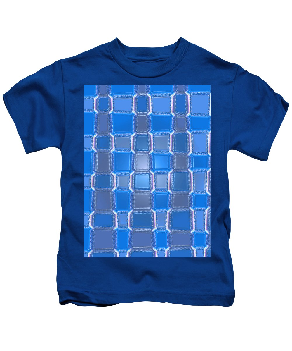 Moveonart! Digital Gallery Kids T-Shirt featuring the digital art Moveonart Blue Bricks by Jacob Kanduch