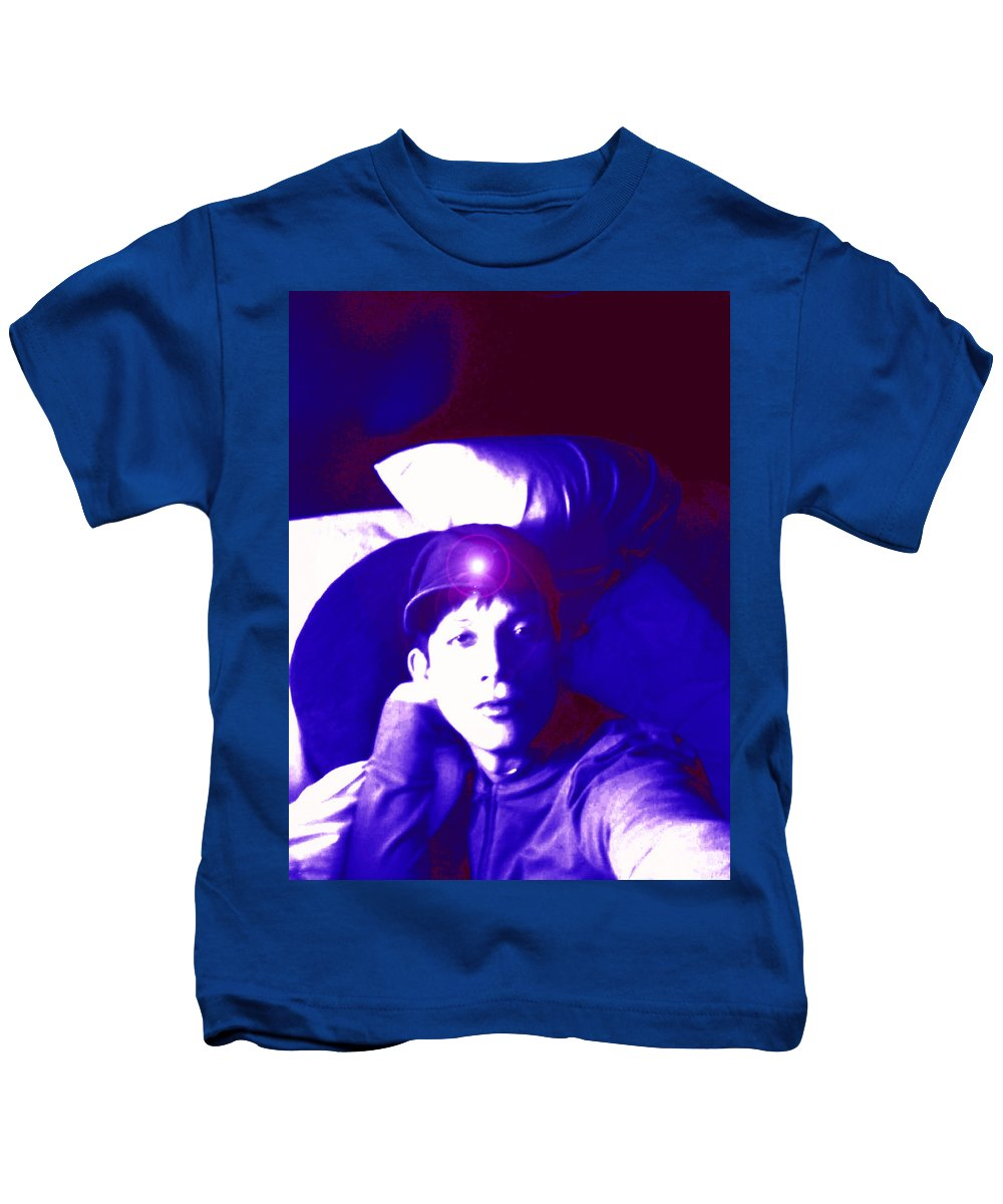 Moveonart! Digital Gallery Kids T-Shirt featuring the digital art Moveonart Jacob In Blue Light Thinking by Jacob Kanduch