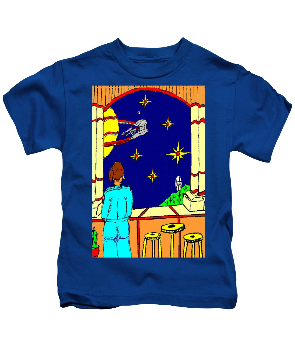Lady Kids T-Shirt featuring the painting Ms Cleo On A Balcony In Paradise by Anthony Benjamin