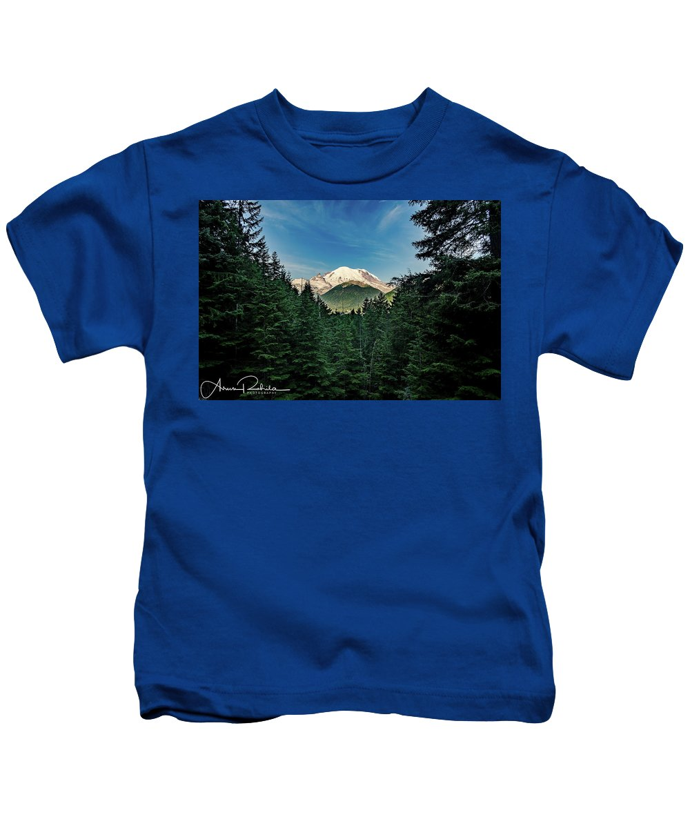 Trees Kids T-Shirt featuring the photograph Mt Rainier Through The Trees by Arun Rohila