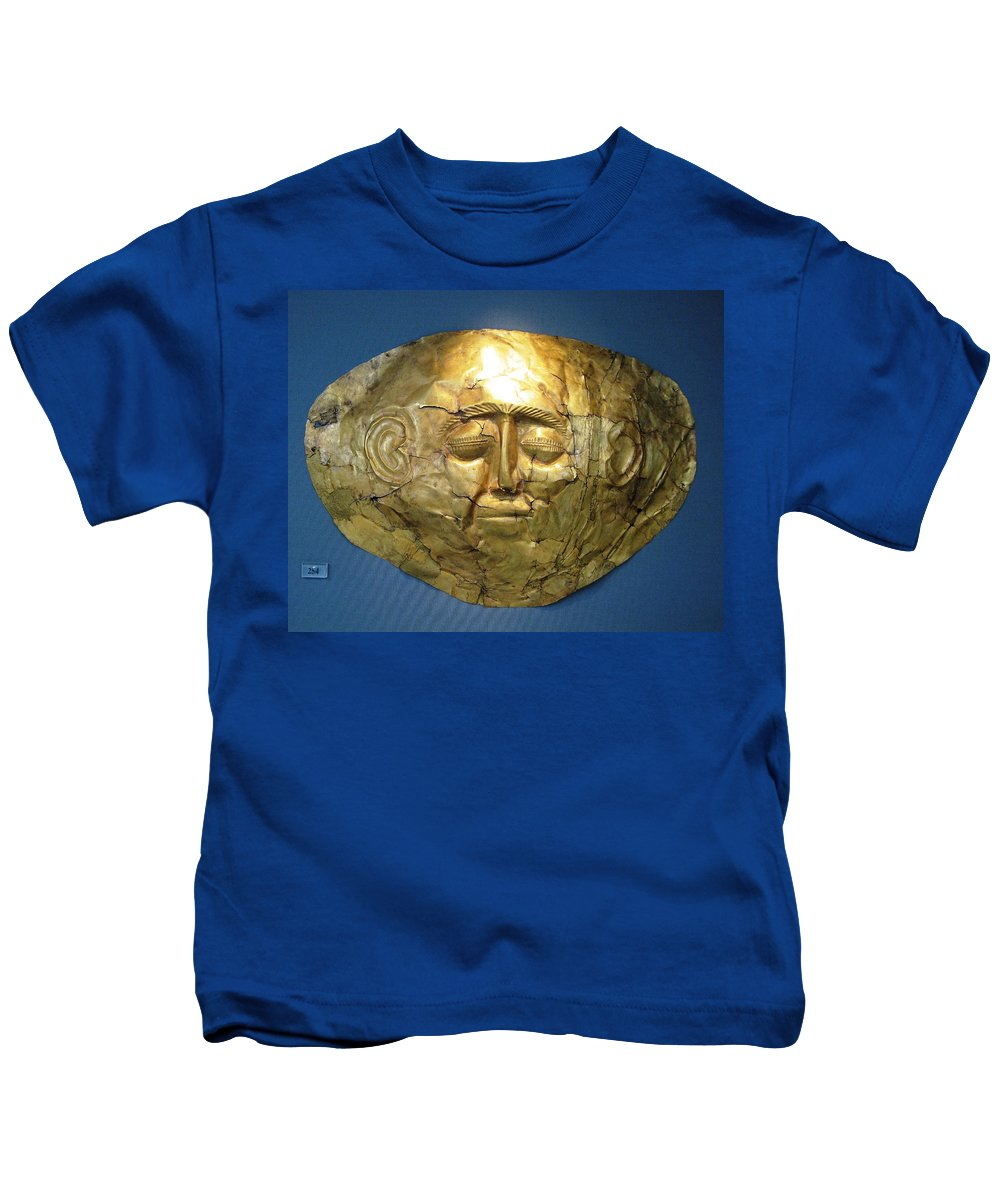 Mycenaean Gold Mask Kids T-Shirt featuring the photograph Mycenaean Gold Mask by Andonis Katanos