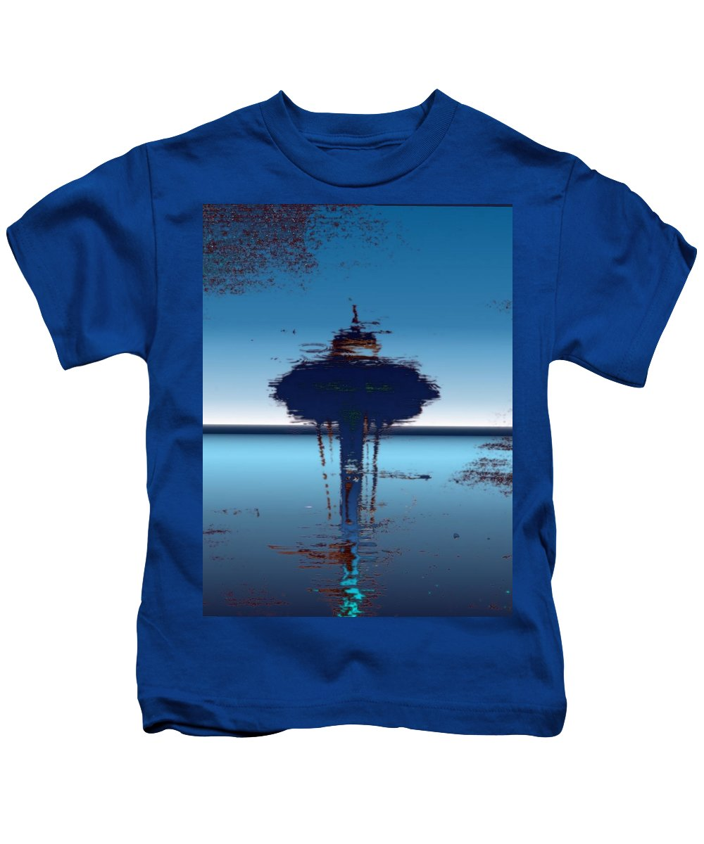 Seattle Kids T-Shirt featuring the digital art Needle In A Raindrop Stack 4 by Tim Allen