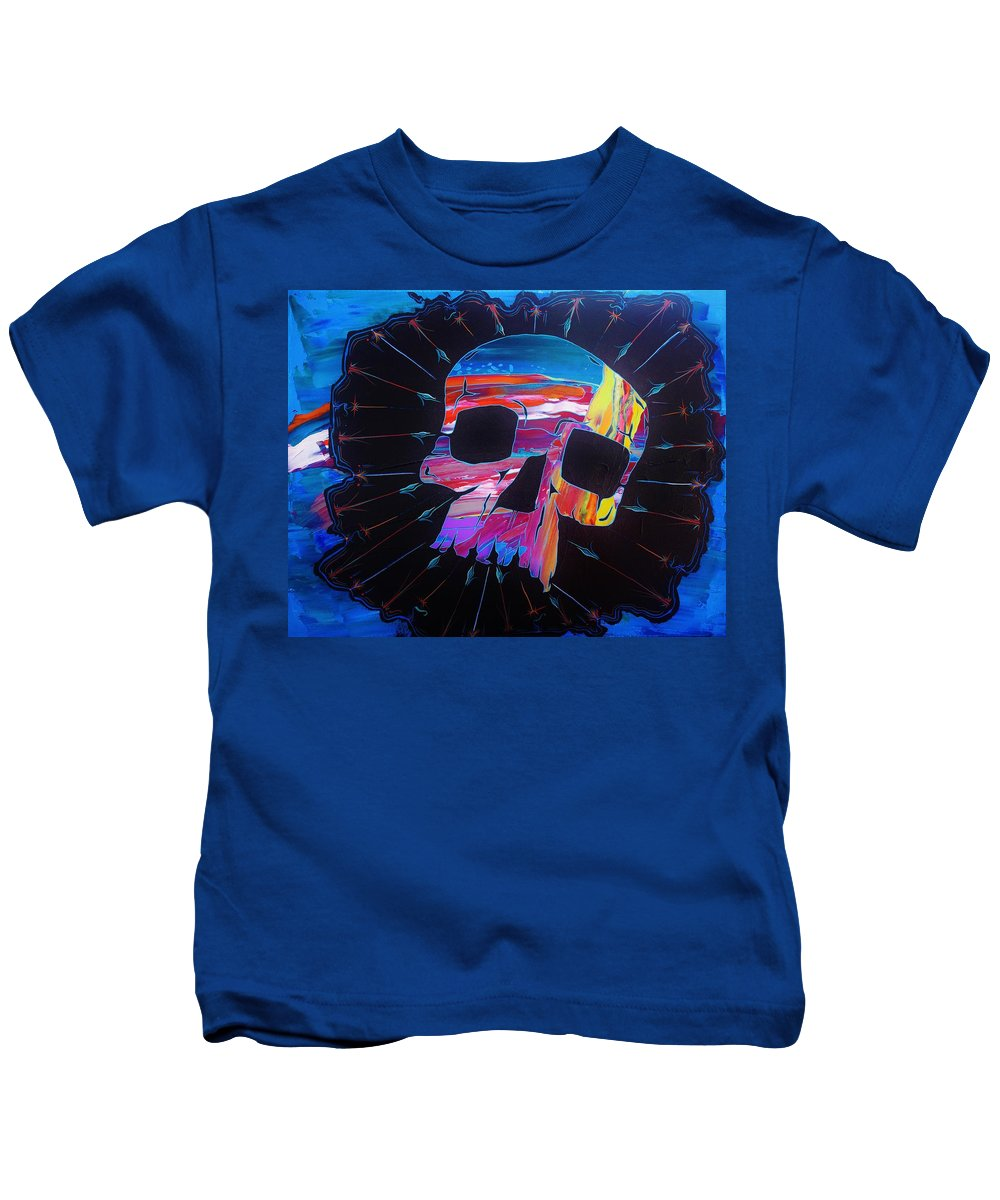 Skulls Kids T-Shirt featuring the painting Negative Relations 7 by David Buschemeyer