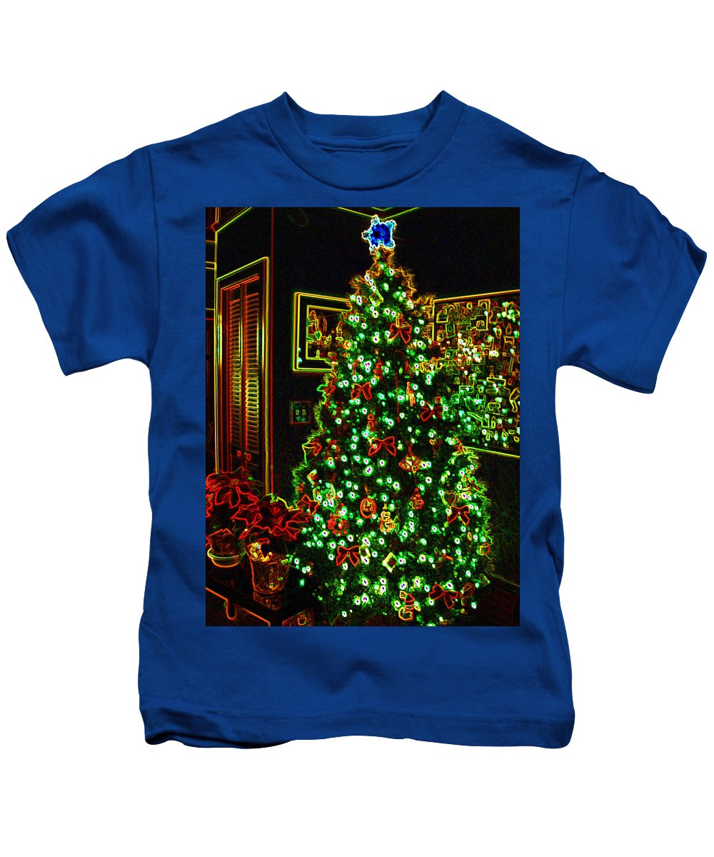 Christmas Kids T-Shirt featuring the photograph Neon Christmas Tree by Nancy Mueller