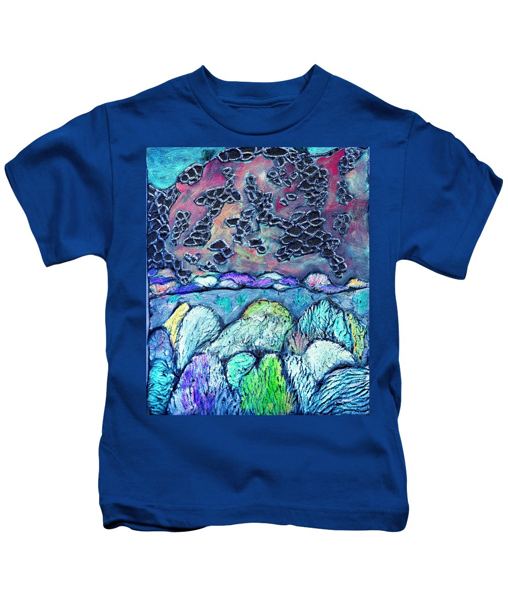 Landscape Kids T-Shirt featuring the painting New Mexico Landscape by Wayne Potrafka