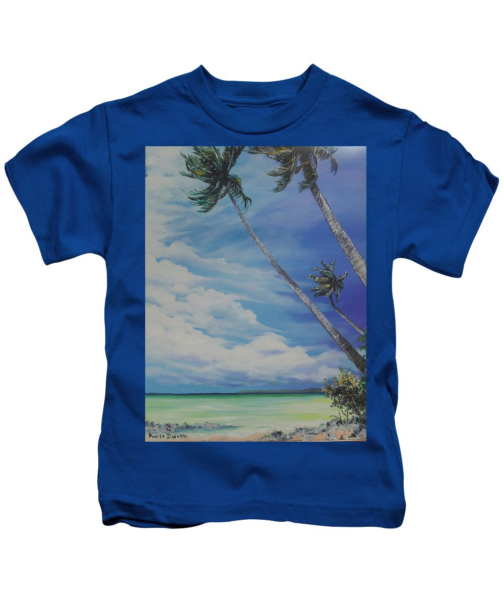 Trinidad And Tobago Seascape Kids T-Shirt featuring the painting Nylon Pool Tobago. by Karin Dawn Kelshall- Best