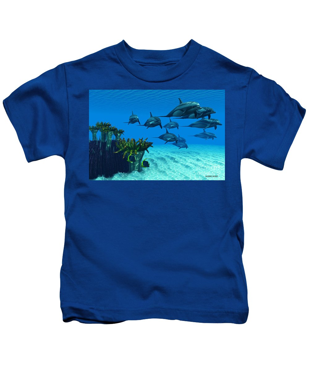 Striped Dolphin Kids T-Shirt featuring the painting Ocean Striped Dolphins by Corey Ford