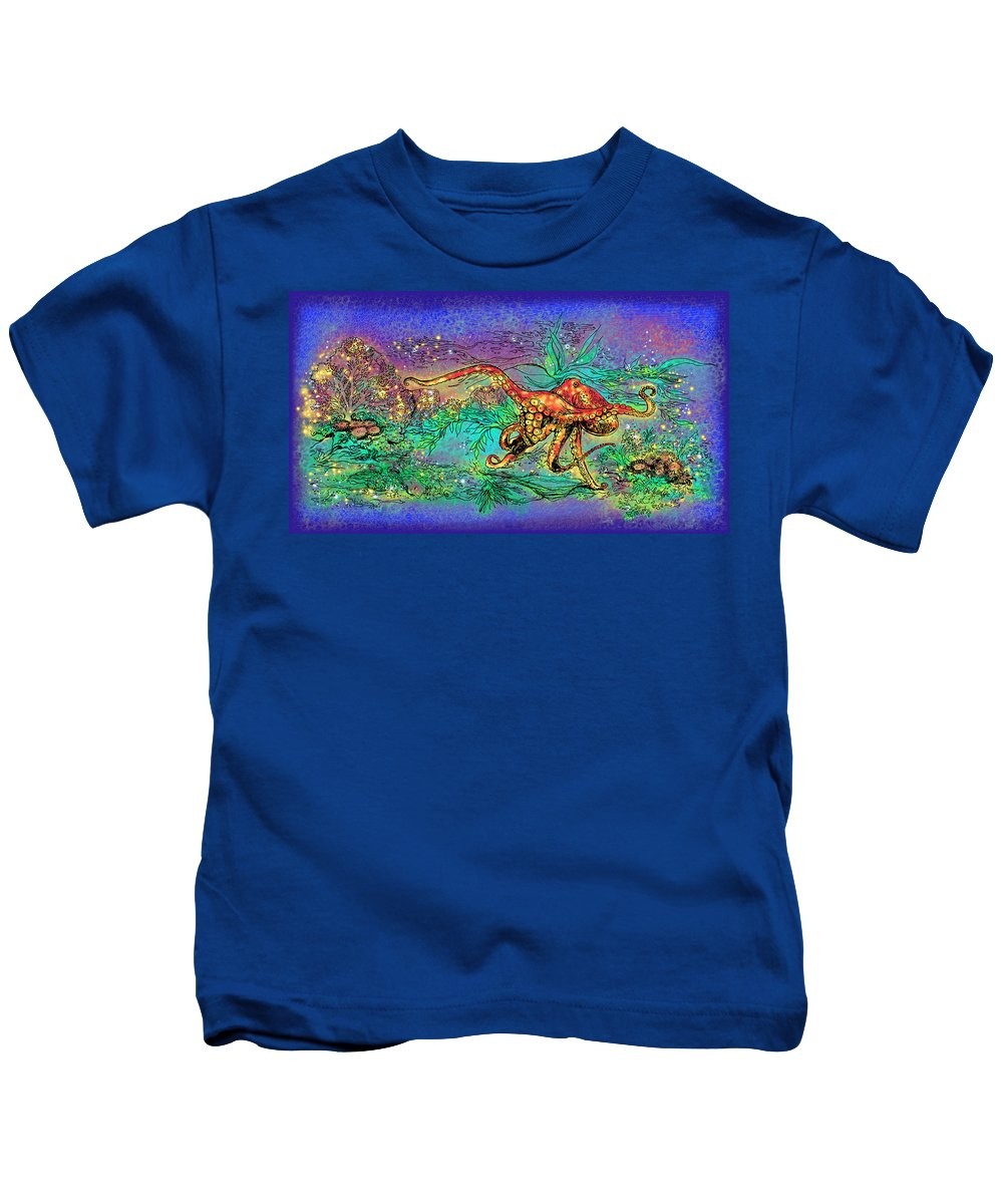 Octopus Kids T-Shirt featuring the drawing Octopus Garden by Katherine Nutt