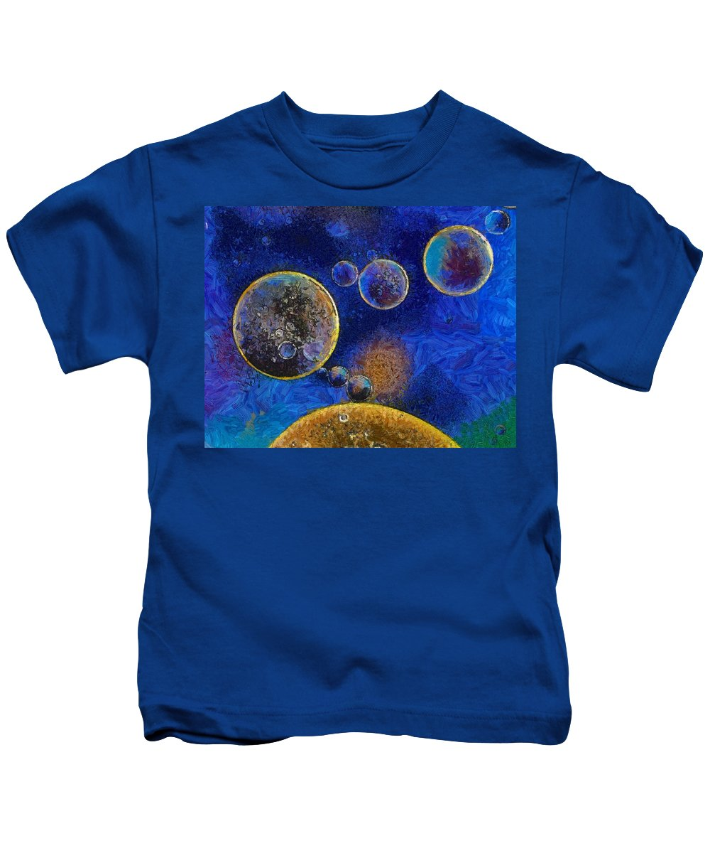 Oil Kids T-Shirt featuring the painting Oil In Water - Id 16217-152045-8661 by S Lurk