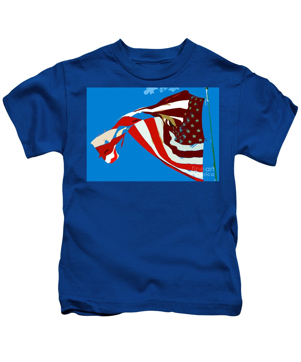 Old Glory Kids T-Shirt featuring the painting Old Glory Flying by David Lee Thompson