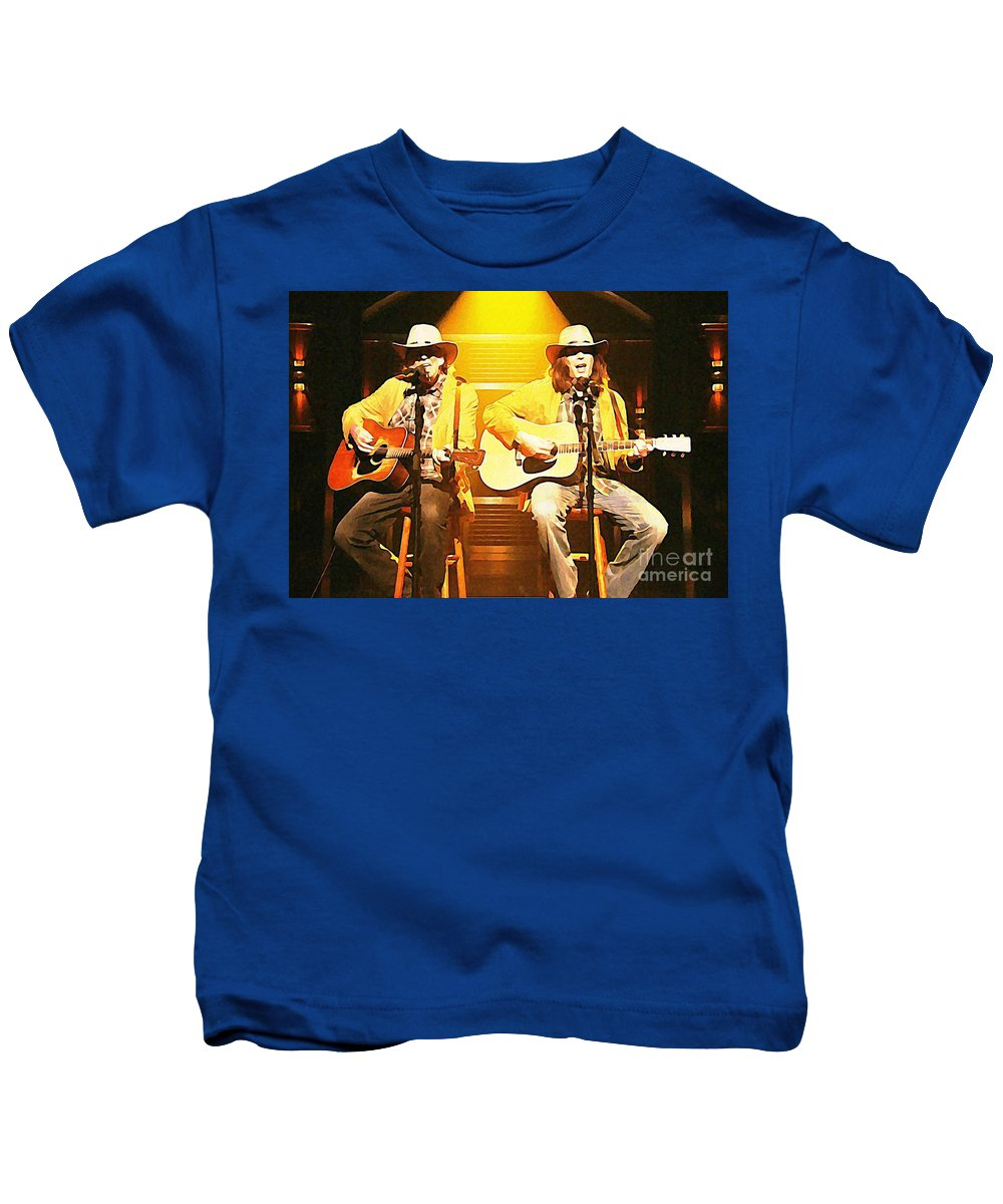 Old Neil And Young Neil Together Kids T-Shirt featuring the painting Old Neil And Young Neil Together by John Malone