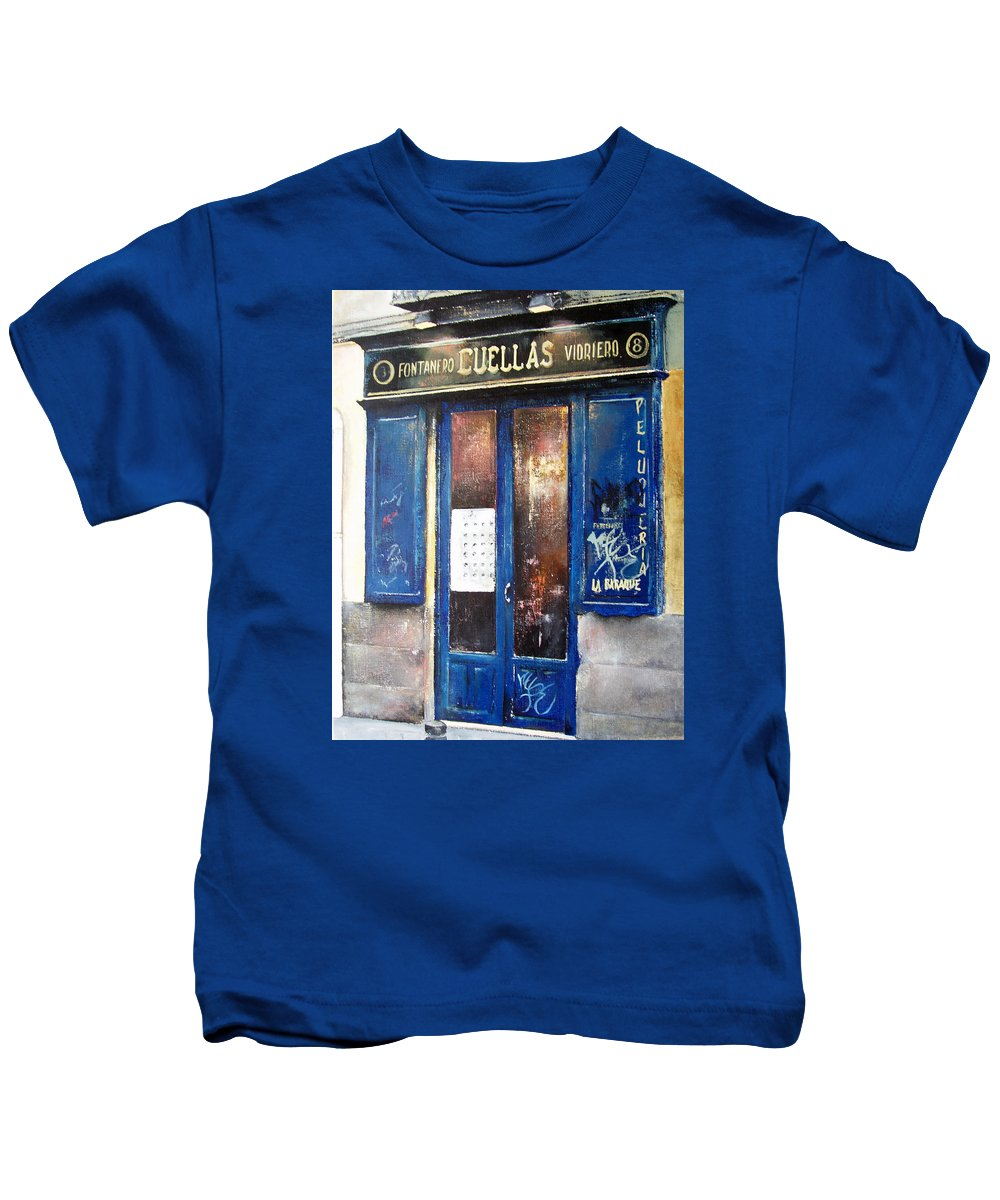 Old Kids T-Shirt featuring the painting Old Plumbing-madrid by Tomas Castano