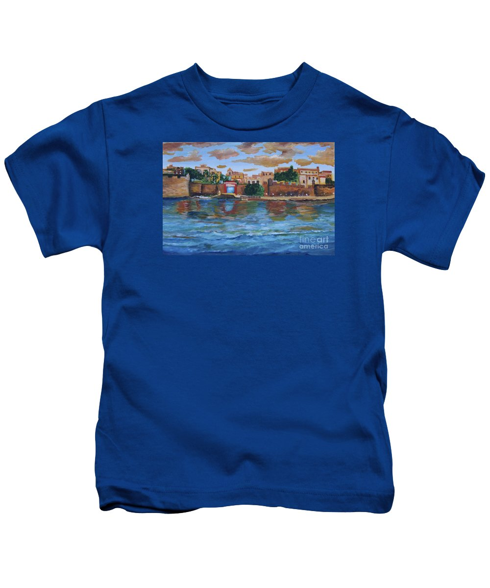 Alicia Maury Prints Kids T-Shirt featuring the painting Old San Juan Gate, 4x6 In. Original Is Sold by Alicia Maury