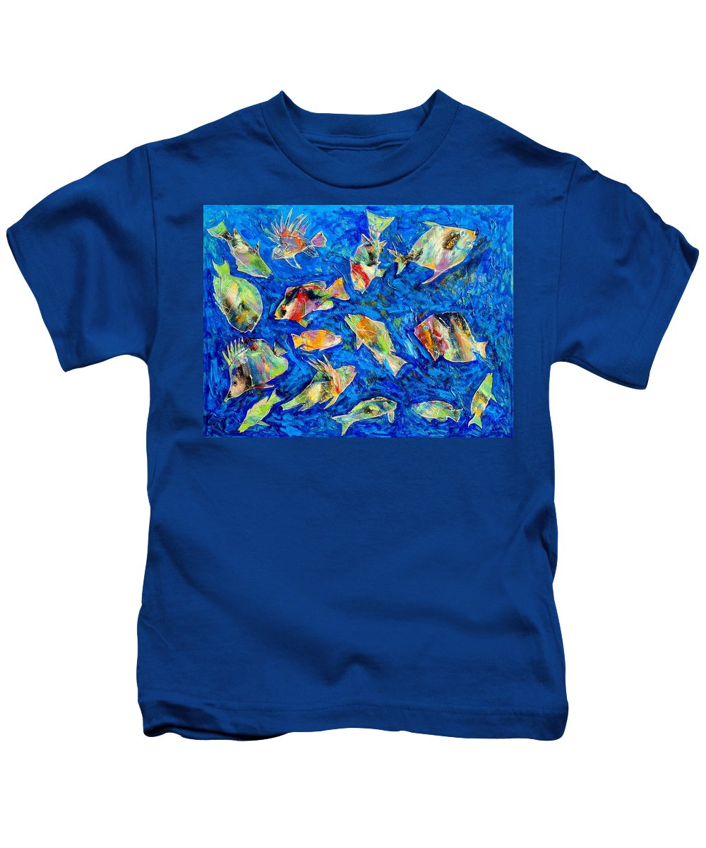Fish Kids T-Shirt featuring the painting Old School by Dominic Piperata