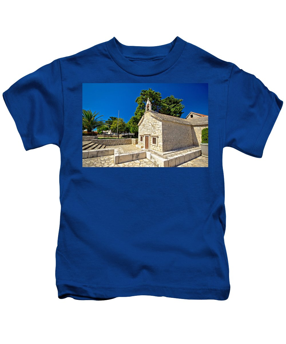 Primosten Kids T-Shirt featuring the photograph Old Stone Chapel In Primosten by Brch Photography