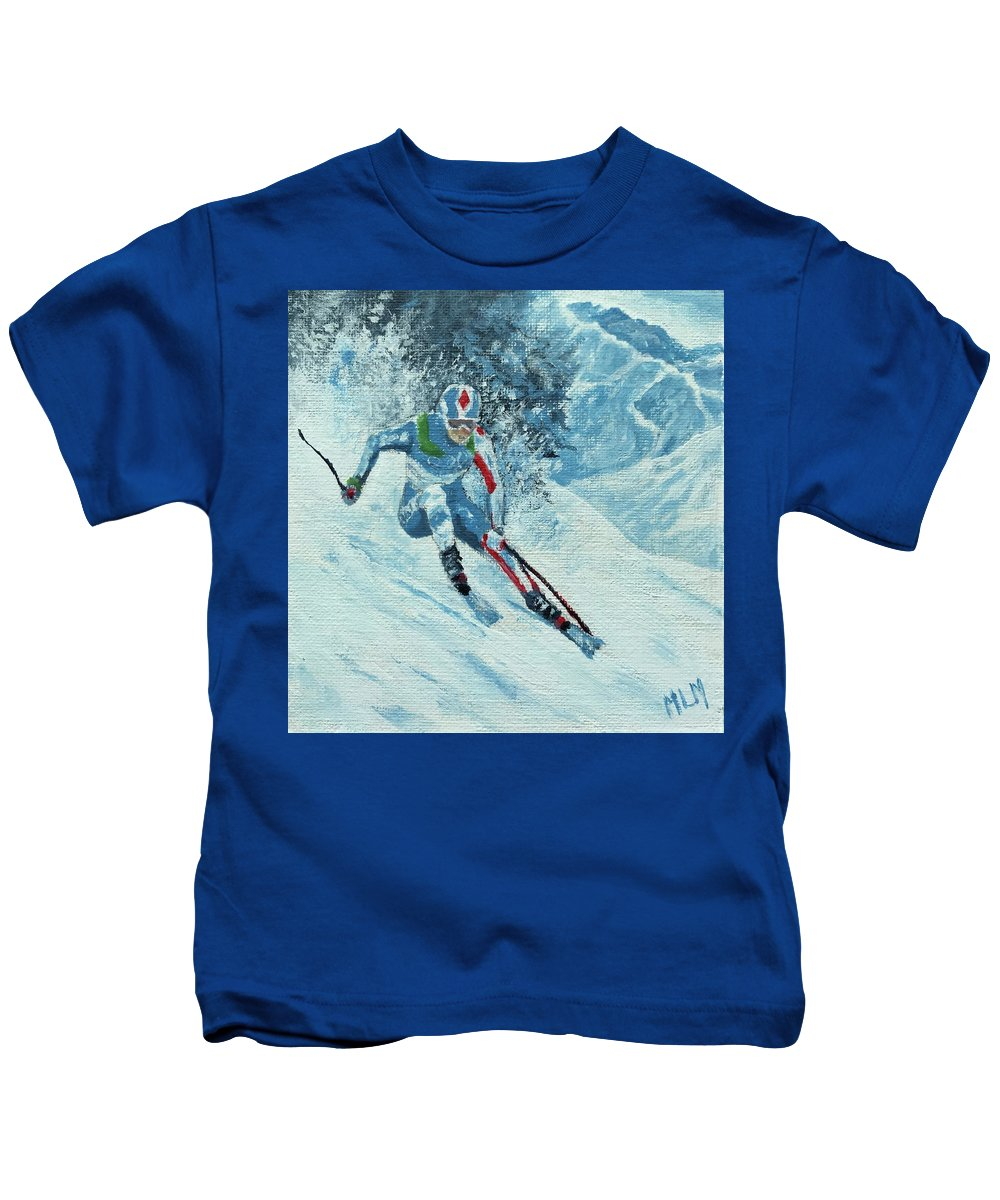 Blue Kids T-Shirt featuring the painting Olympic Downhill Skier by ML McCormick
