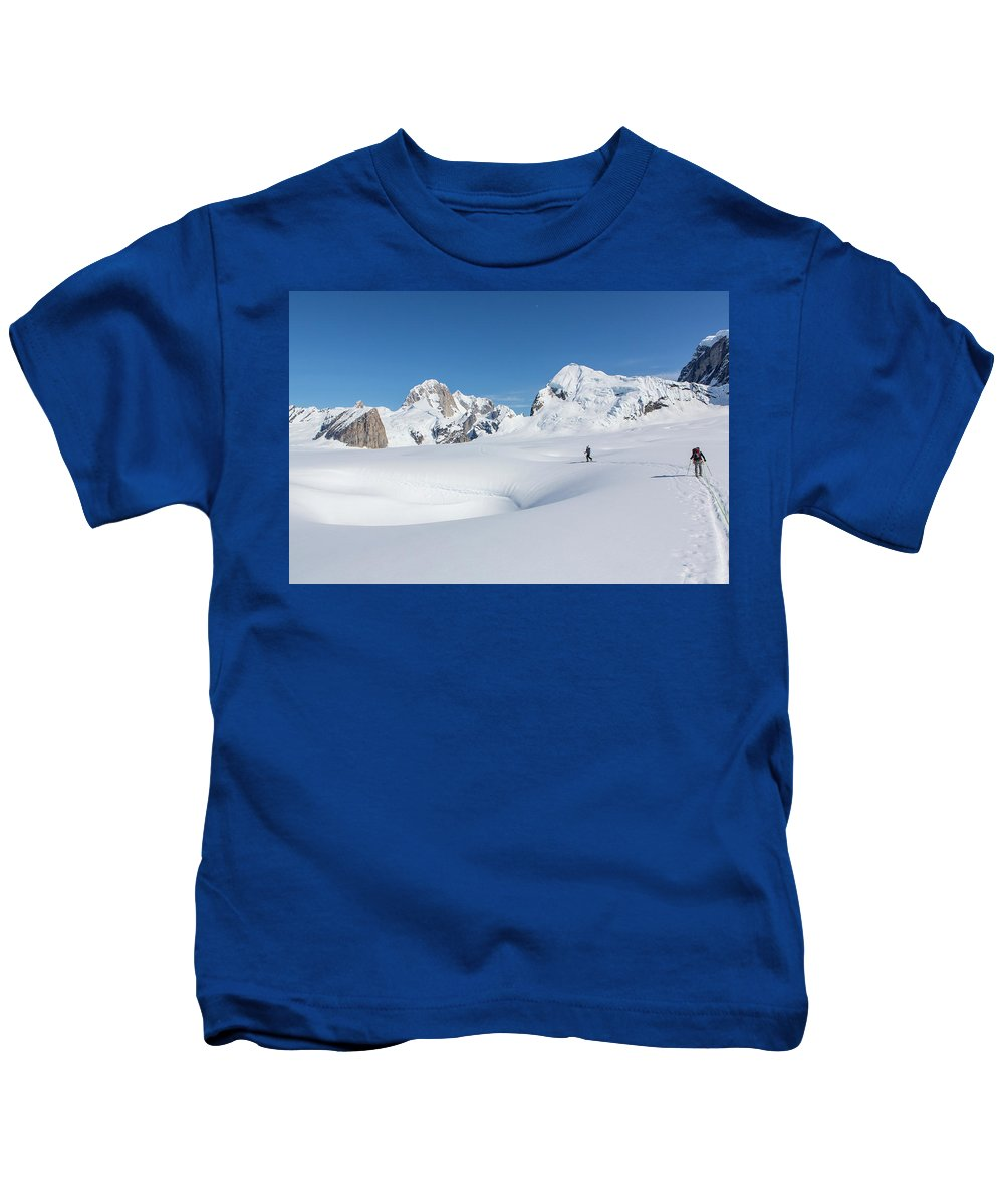 Alaska Kids T-Shirt featuring the photograph On The Ruth Glacier by Tim Grams